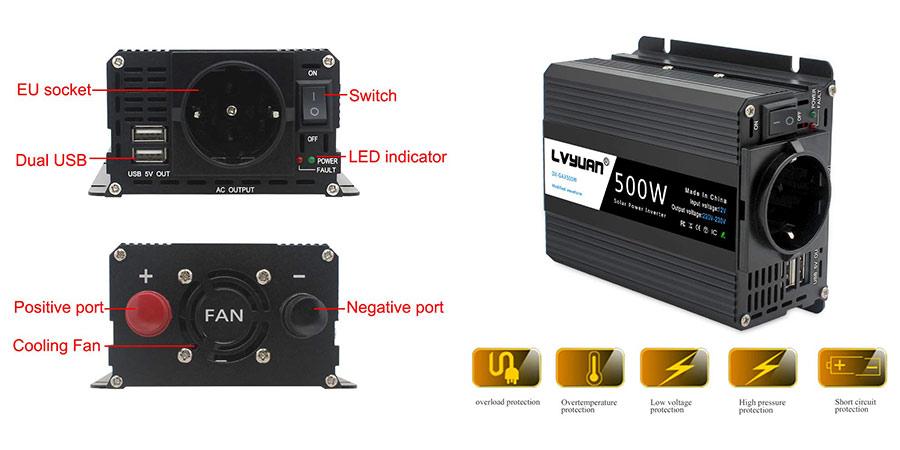 inversor de corriente yinleader 500w barato